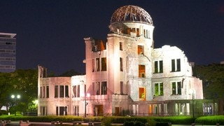 A-Bomb Dome which includes night scenes and building ruins
