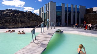 Blue Lagoon showing a hot spring, swimming and a luxury hotel or resort