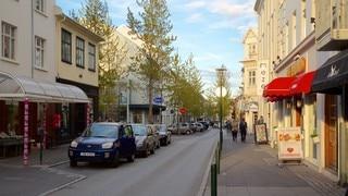 Laugavegur showing street scenes