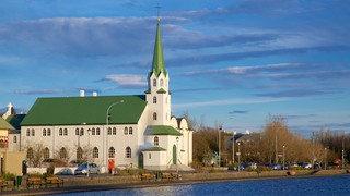 Reykjavik Free Church featuring a small town or village and a church or cathedral