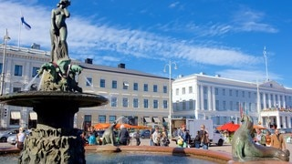 Kauppatori Market Square featuring a square or plaza, a fountain and a city