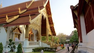 Wat Phra Singh showing a temple or place of worship as well as a small group of people