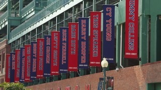 Fenway Park which includes signage and a city