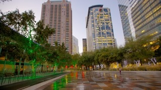Discovery Green showing a square or plaza, a city and a skyscraper