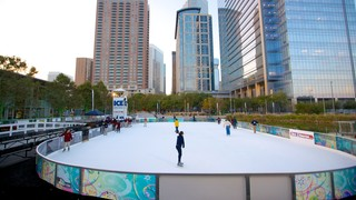 Discovery Green which includes a high rise building, city views and ice skating