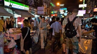 Khao San Road which includes a city, markets and night scenes