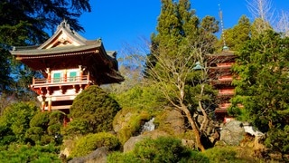 Japanese Tea Garden which includes heritage architecture and a park