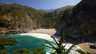 Pfeiffer Big Sur State Park which includes a sandy beach, general coastal views and landscape views