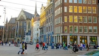 Dam Square which includes a city and street scenes as well as a large group of people