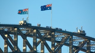 Sydney Harbour Bridge featuring a bridge and modern architecture