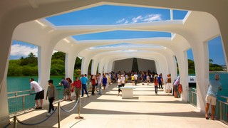 USS Arizona Memorial showing views as well as a large group of people