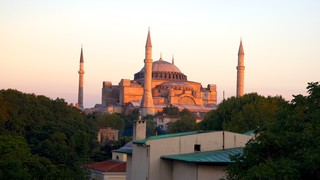 Hagia Sophia showing a church or cathedral, heritage architecture and a city