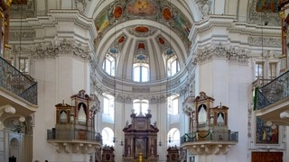 Salzburg Cathedral showing interior views, heritage elements and a church or cathedral
