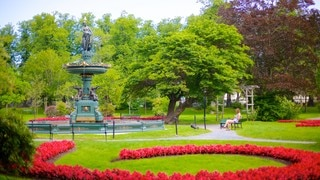 Halifax Public Gardens which includes flowers, outdoor art and a fountain
