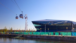 O2 Arena which includes a gondola, a river or creek and modern architecture