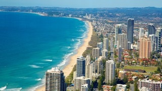 SkyPoint Observation Deck which includes general coastal views, a sandy beach and a coastal town