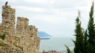 Castello San Giorgio showing general coastal views, heritage architecture and building ruins