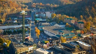 Gatlinburg Space Needle showing a city