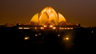 Lotus Temple featuring night scenes and modern architecture