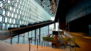Harpa featuring interior views and modern architecture