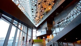 Harpa which includes modern architecture and interior views
