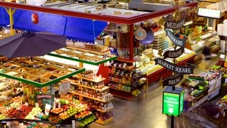 Covent Garden Market featuring interior views, food and markets