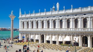 Doge\'s Palace featuring general coastal views, a castle and heritage architecture