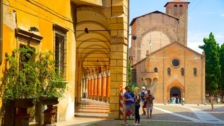 Basilica Santo Stefano featuring a church or cathedral, heritage architecture and a square or plaza