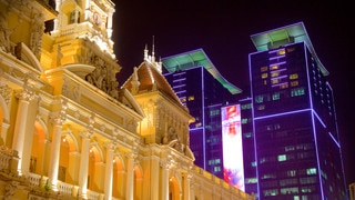 Ho Chi Minh City Hall which includes heritage architecture, modern architecture and night scenes