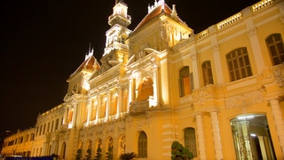 Ho Chi Minh City Hall featuring heritage architecture and night scenes