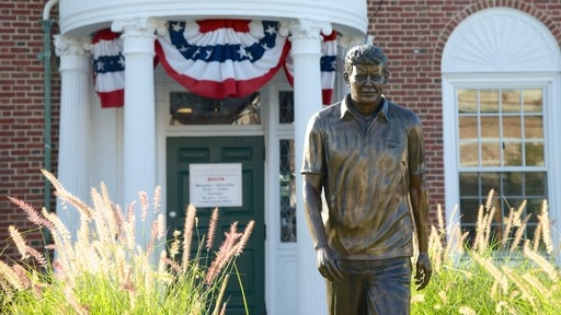 John F. Kennedy Hyannis Museum showing a statue or sculpture