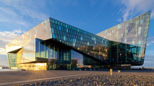 Harpa which includes modern architecture