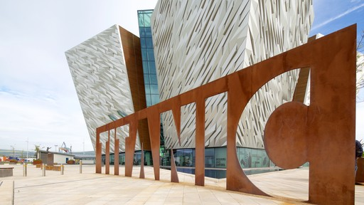 Titanic Belfast showing signage and modern architecture