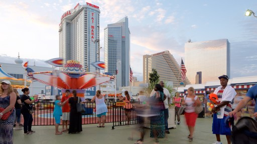Steel Pier showing rides as well as a large group of people