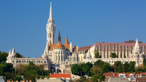 Fisherman\'s Bastion featuring heritage architecture and an administrative buidling