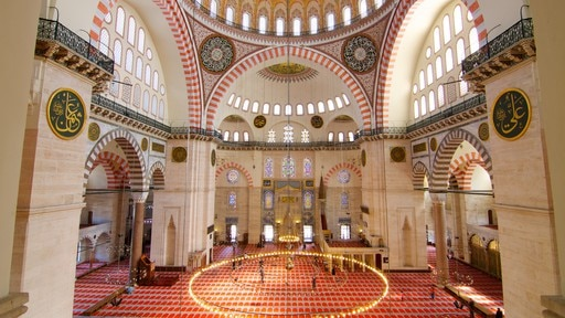 Suleymaniye Mosque showing a mosque and interior views