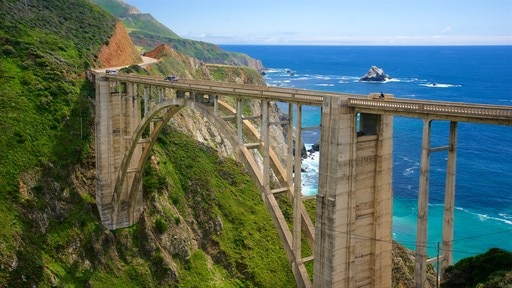 Bixby Bridge featuring a bridge, landscape views and general coastal views