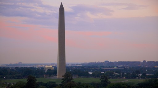 Washington Monument featuring a monument and a sunset