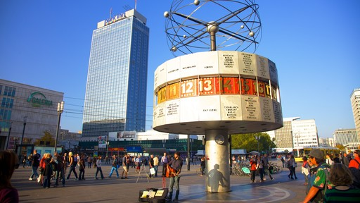 Alexanderplatz featuring a skyscraper, street scenes and a square or plaza