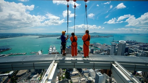 Sky Tower featuring bungee jumping, general coastal views and a high rise building