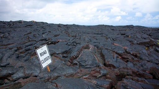Hawaii Volcanoes National Park showing landscape views and signage