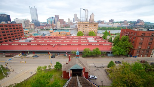 Monongahela Incline featuring skyline, street scenes and a gondola