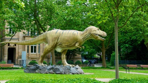 Senckenberg Museum which includes a park and a statue or sculpture
