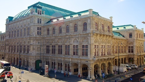 Vienna State Opera featuring street scenes, a city and heritage architecture