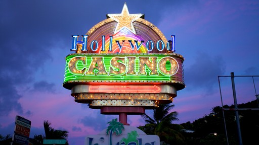 Hollywood Casino featuring night scenes, signage and a casino