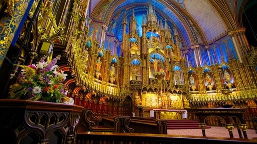 Notre Dame Basilica which includes interior views, religious elements and a church or cathedral