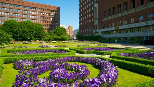 Oslo City Hall showing flowers, a park and an administrative buidling