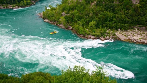Whirlpool State Park showing rapids, landscape views and boating
