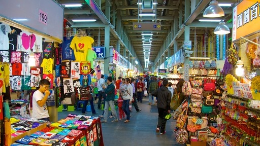 Shilin Night Market showing interior views and markets as well as a large group of people