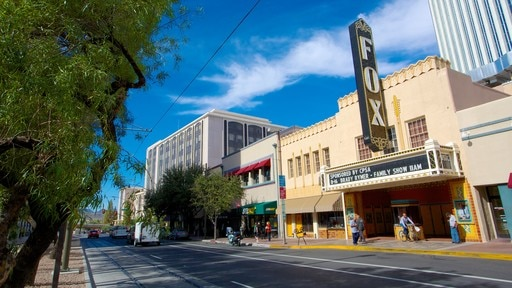 Fox Theatre featuring signage, heritage elements and theater scenes